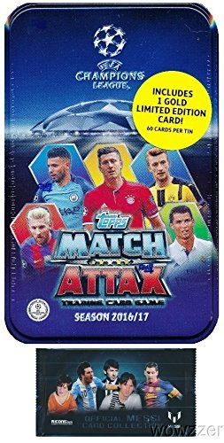 20162017 Topps Match Attax Champions League Soccer Collectors Mega Tin With 60 Cards Gold Limited Edition Card Plus Match Attax Soccer Cards Champions League