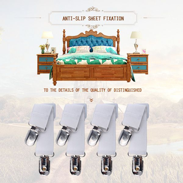 4pcs Sheet Straps White Adjustable Bed Corner Holder Elastic Straps Fasteners Clips Grippers Mattress Cover Sheet Adjustable Beds Mattress Covers Clothes Pegs