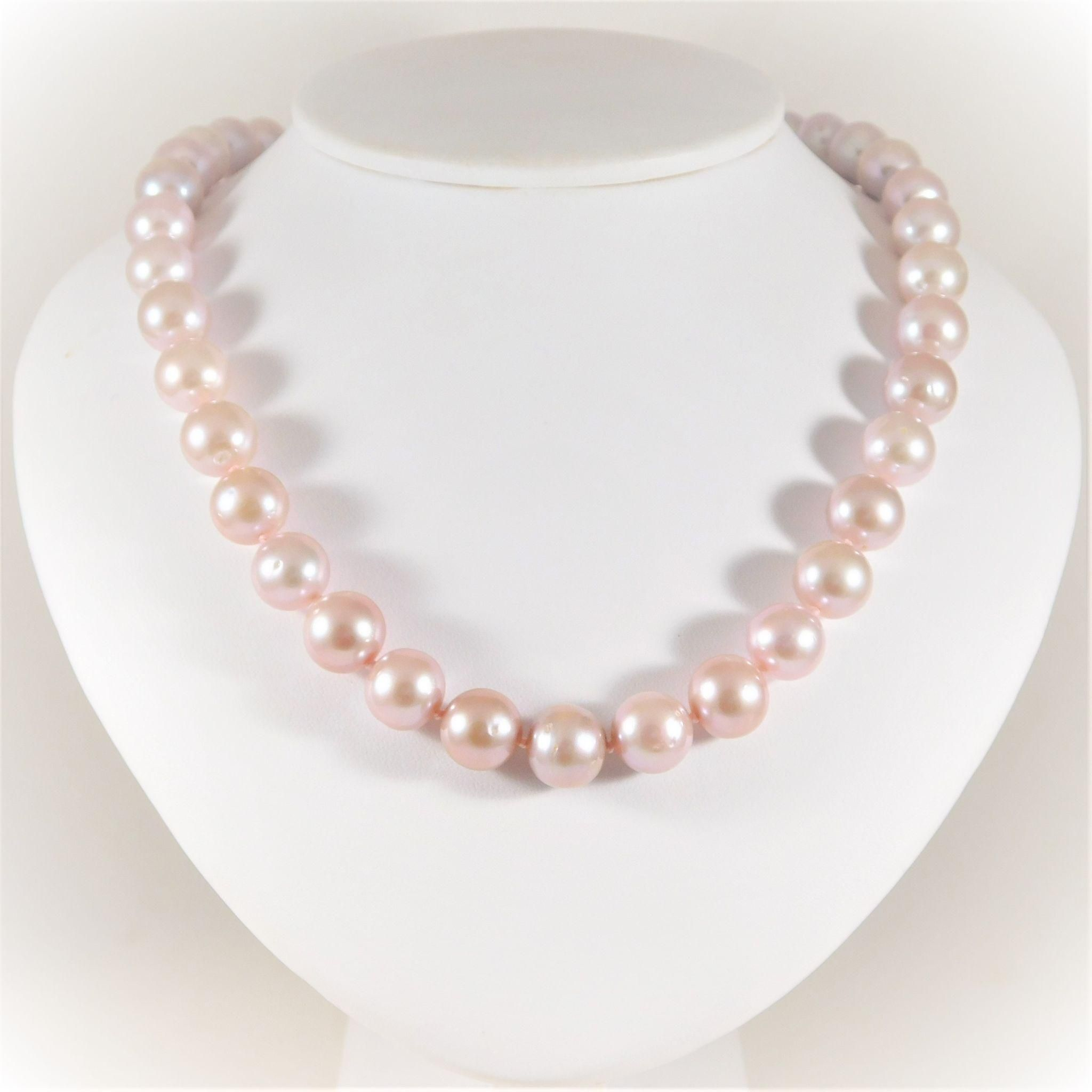 pea products triple necklace strand mm pink aaa pearl peach freshwater to