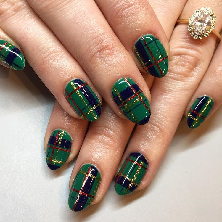 Christmas Diy Nail Ideas And More Of Our Manicures From: Green Holiday Plaid For Megan 🎄 #nails #nailart #gelnails