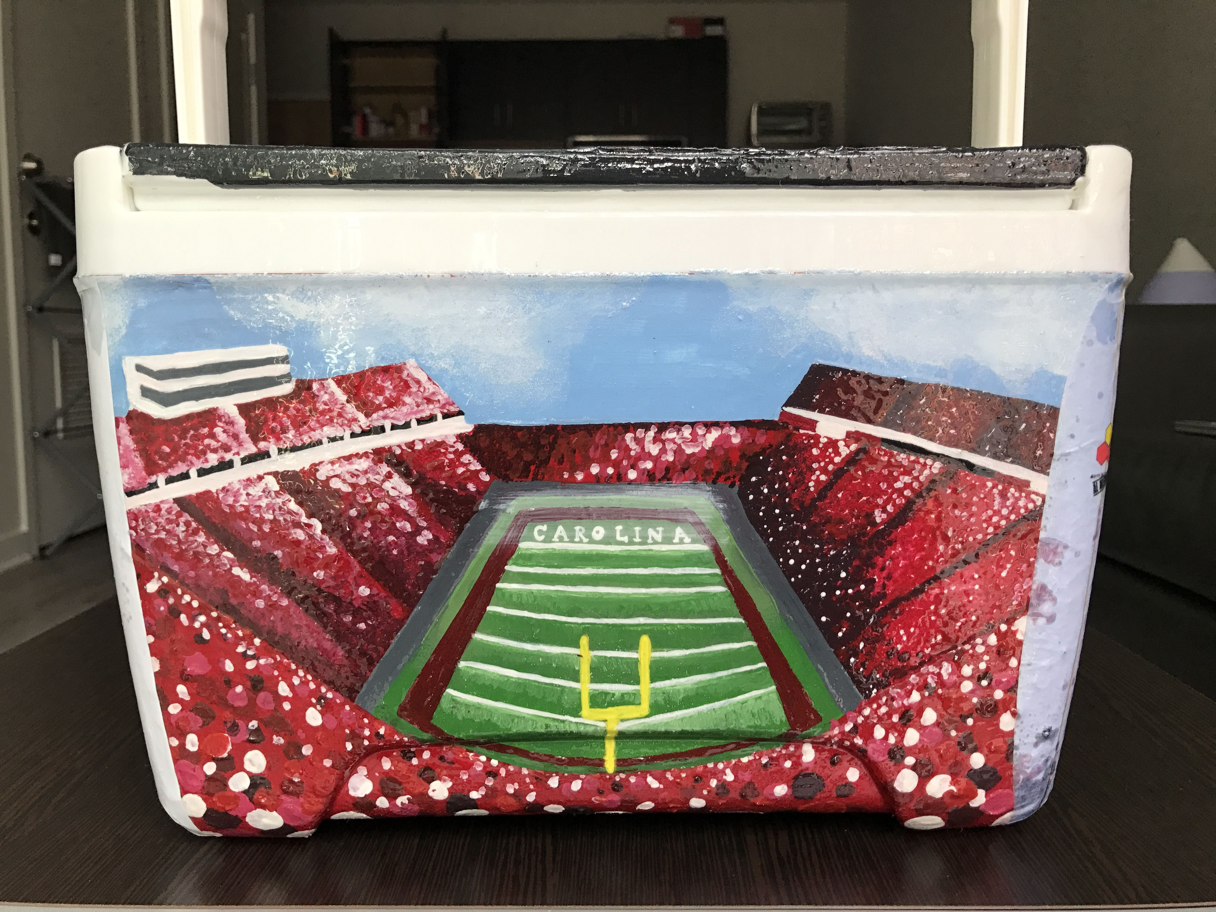Football Stadium Usc University Of South Carolina Cooler Painting Idea Cooler Painting Formal Cooler Ideas Fraternity Coolers