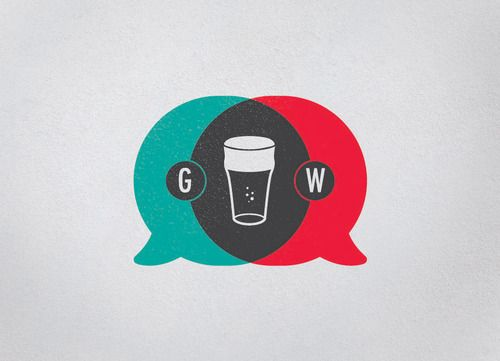 Gollywolly Simple Three Color Logo With Thought Bubbles Beer And