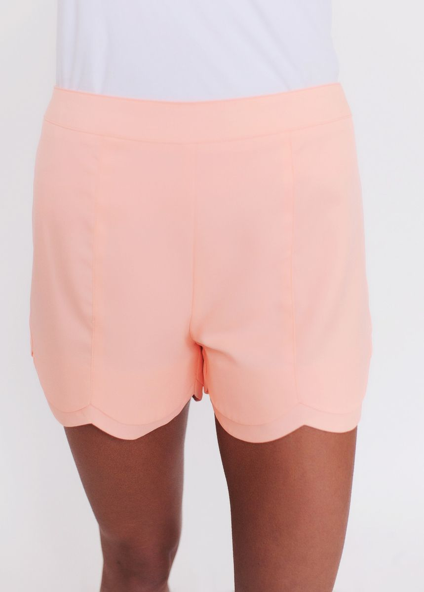 High Waist Scalloped Shorts- Mango - Dottie Couture Boutique