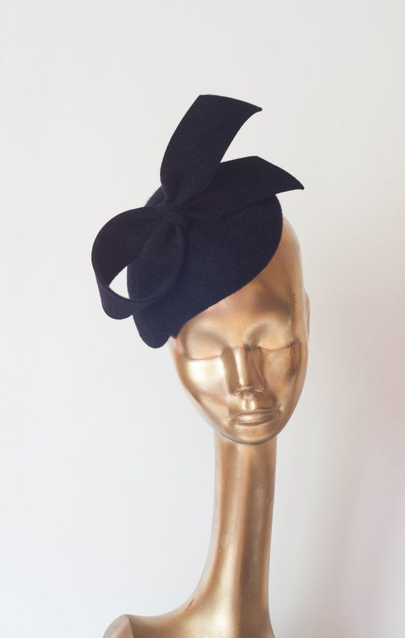 Unique Modern Dark Navy Blue Fur FELT FASCINATOR. BRIDAL Fascinator