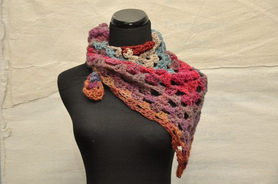 Crocheted Bandana Scarf in Shades of pink purple blue by amberkane, $55.00