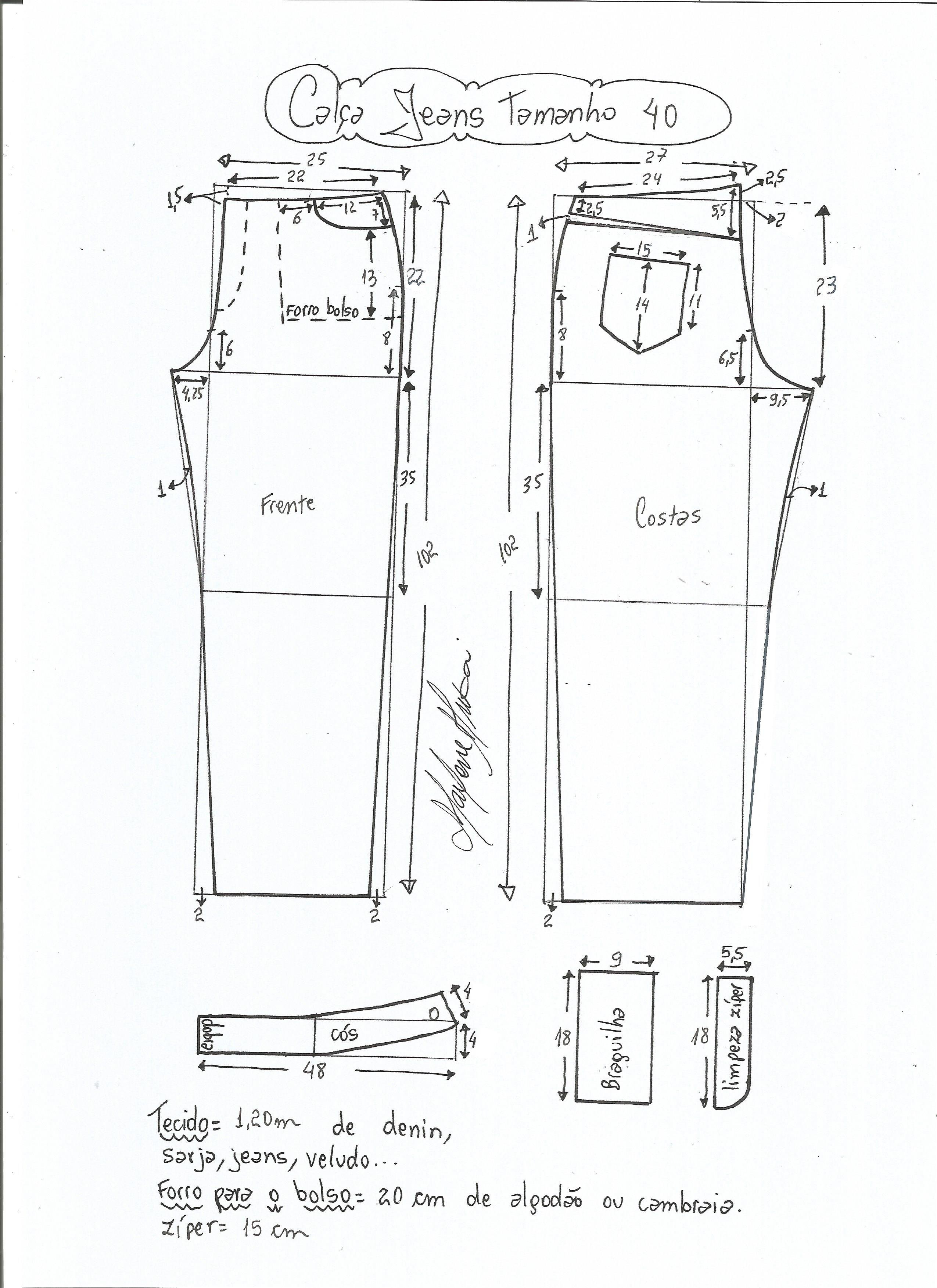 Calça jeans cós médio | Molde, Costura y Patrones