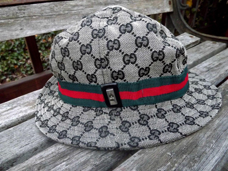 Vintage Genuine Gucci Bucket Crusher Rain Hat Made In Italy Unisex Bucket Hat Fashion Gucci Rain Hat