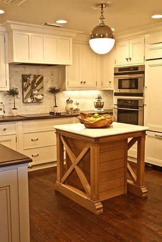Contemporary Home Small Kitchen Love The Idea Of Having An Island Like This And A Middle Piece That Can Be Kitchen Design Small Small Kitchen Kitchen Design