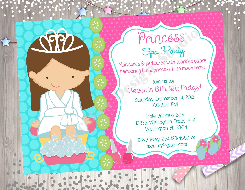 Princess Spa Party Invitation Day Birthday Invite DIY Birthdayinvitation