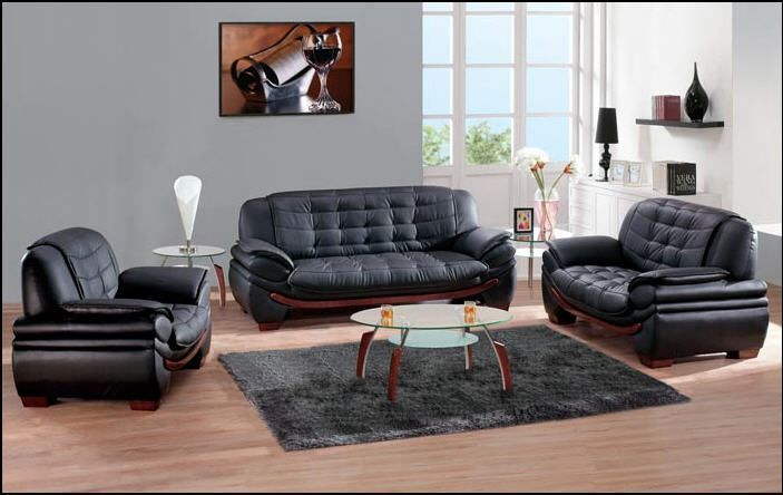 black Leather Living room Set 7174-black | Leather living ...