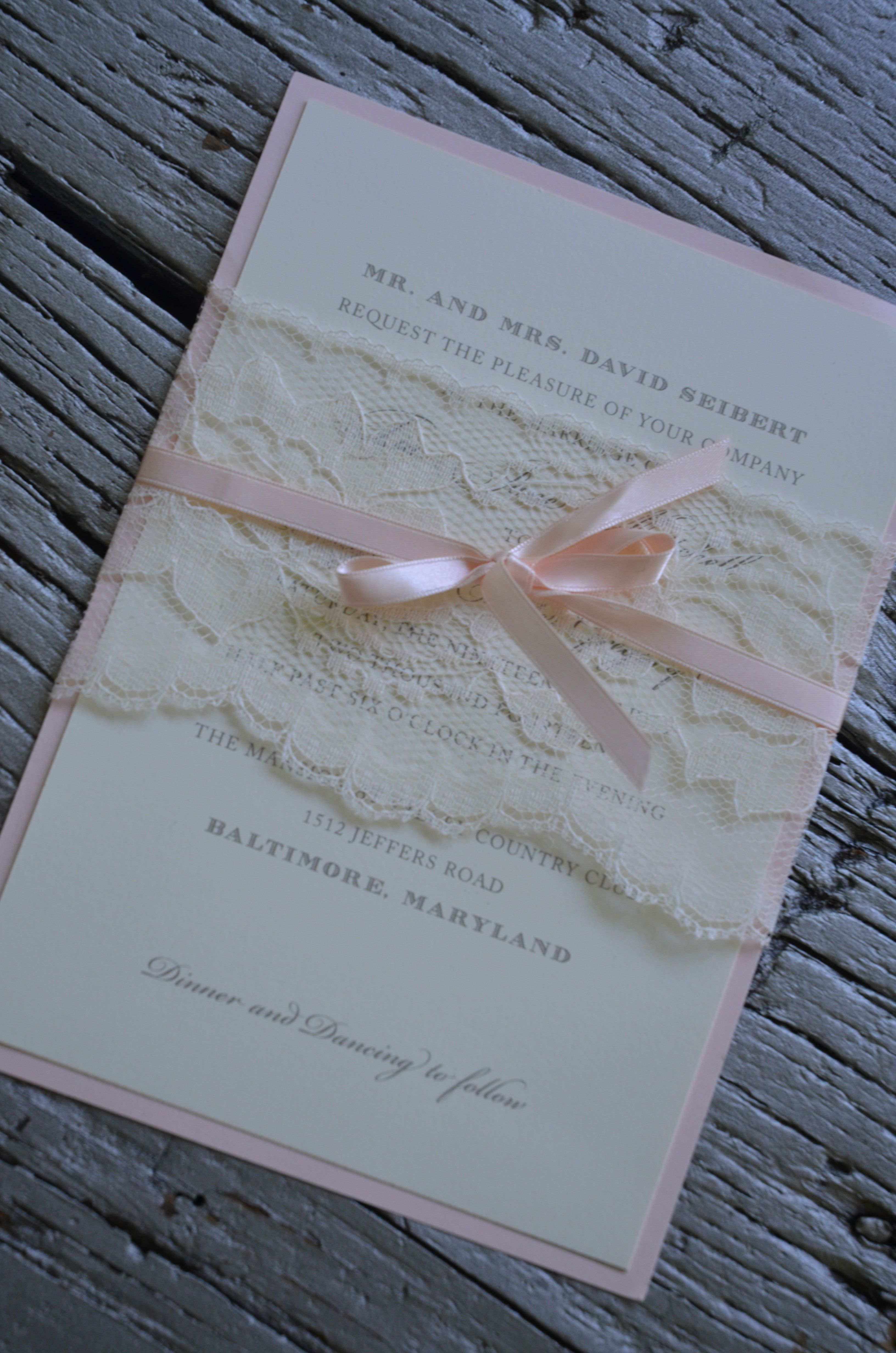 Lace belly band around wedding Invitation with satin ribbon – Wedding Invites Lace
