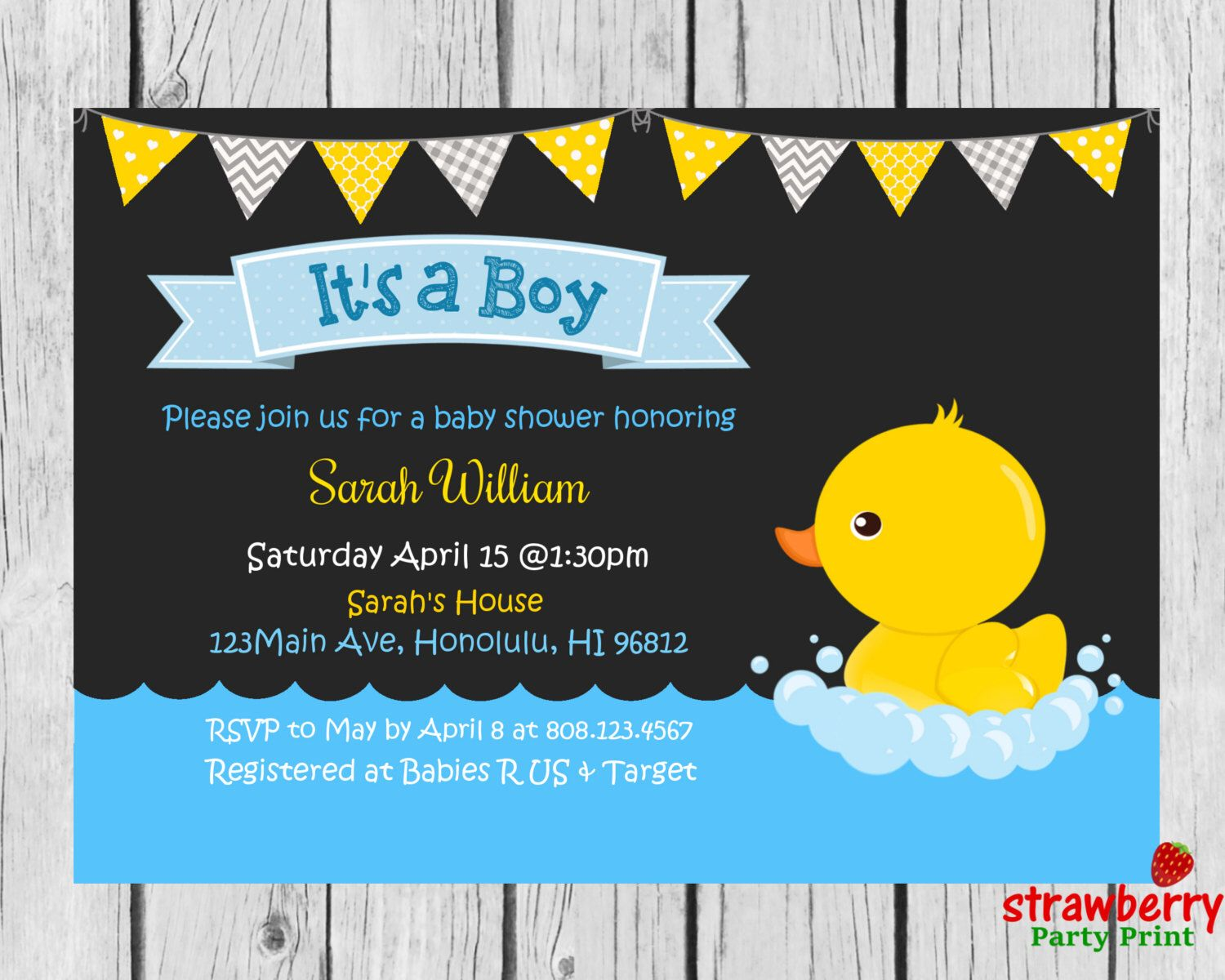 Rubber Duck Baby Shower Invitation, Chalkboard Rubber Ducky Invite, Yellow  Duck, Baby Girl