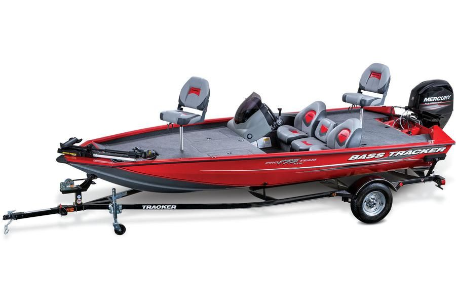 Victory Red or Metallic TRACKER® Black gunwale & side paint scheme w/ Cool Gray bottom (Victory Red Shown) http://www.exclusiveautomarine.com/product/pro-team-175-txw
