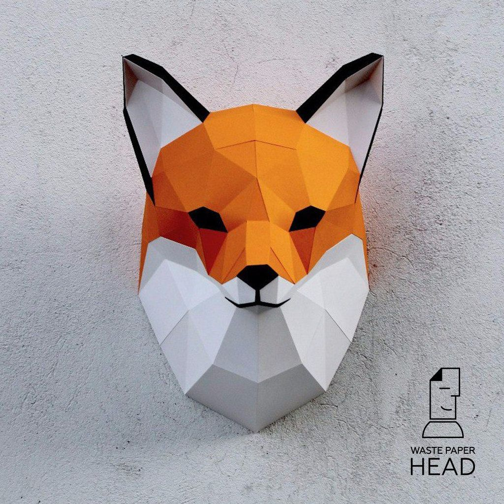 Papercraft fox head printable digital diy template papercraft papercraft fox head printable diy template 8 by wastepaperhead jeuxipadfo Image collections