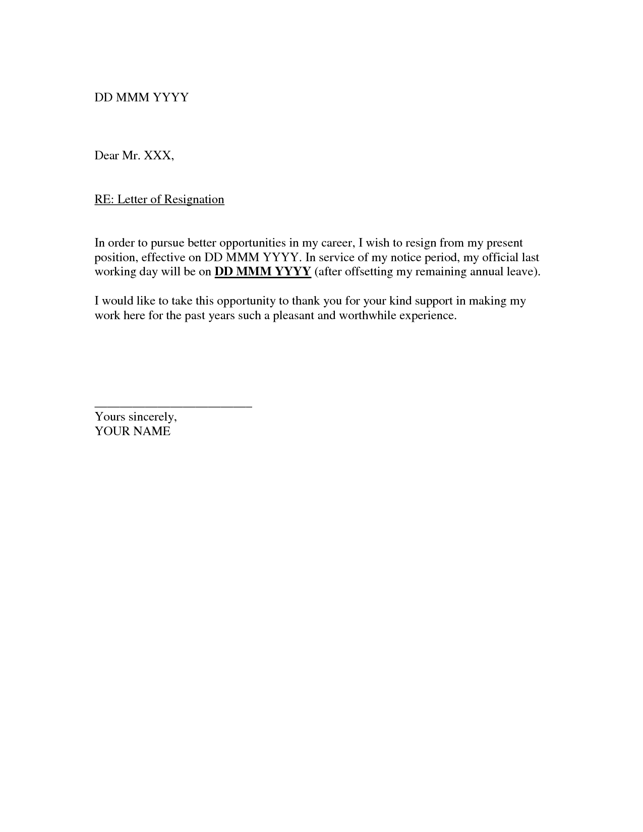 Printable Sample Letter Of Resignation Form  Example Of Leave Form