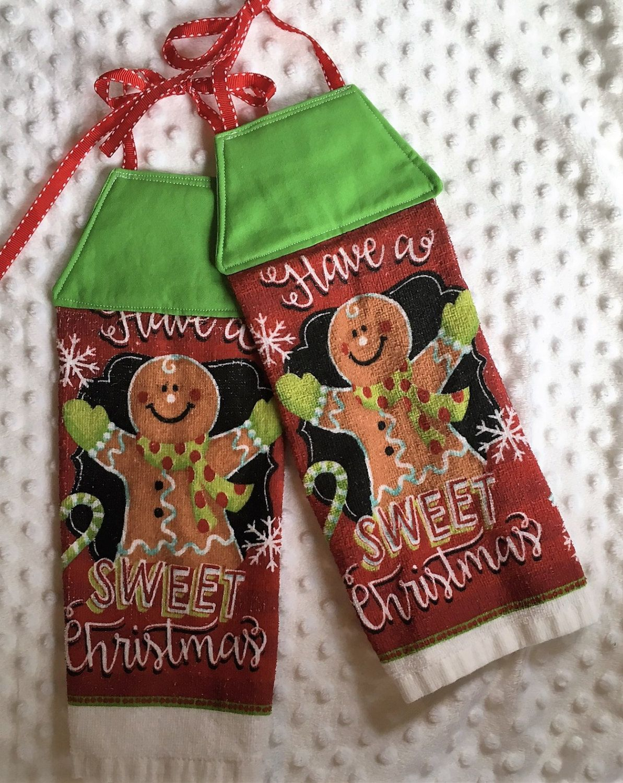 Christmas Hanging Towel, Tie Kithen Towel, Tie Hanging Towel, Dish Towel, Tea  Towel, Kitchen Towel, Hanging Dish Towel, Gingerbread Man