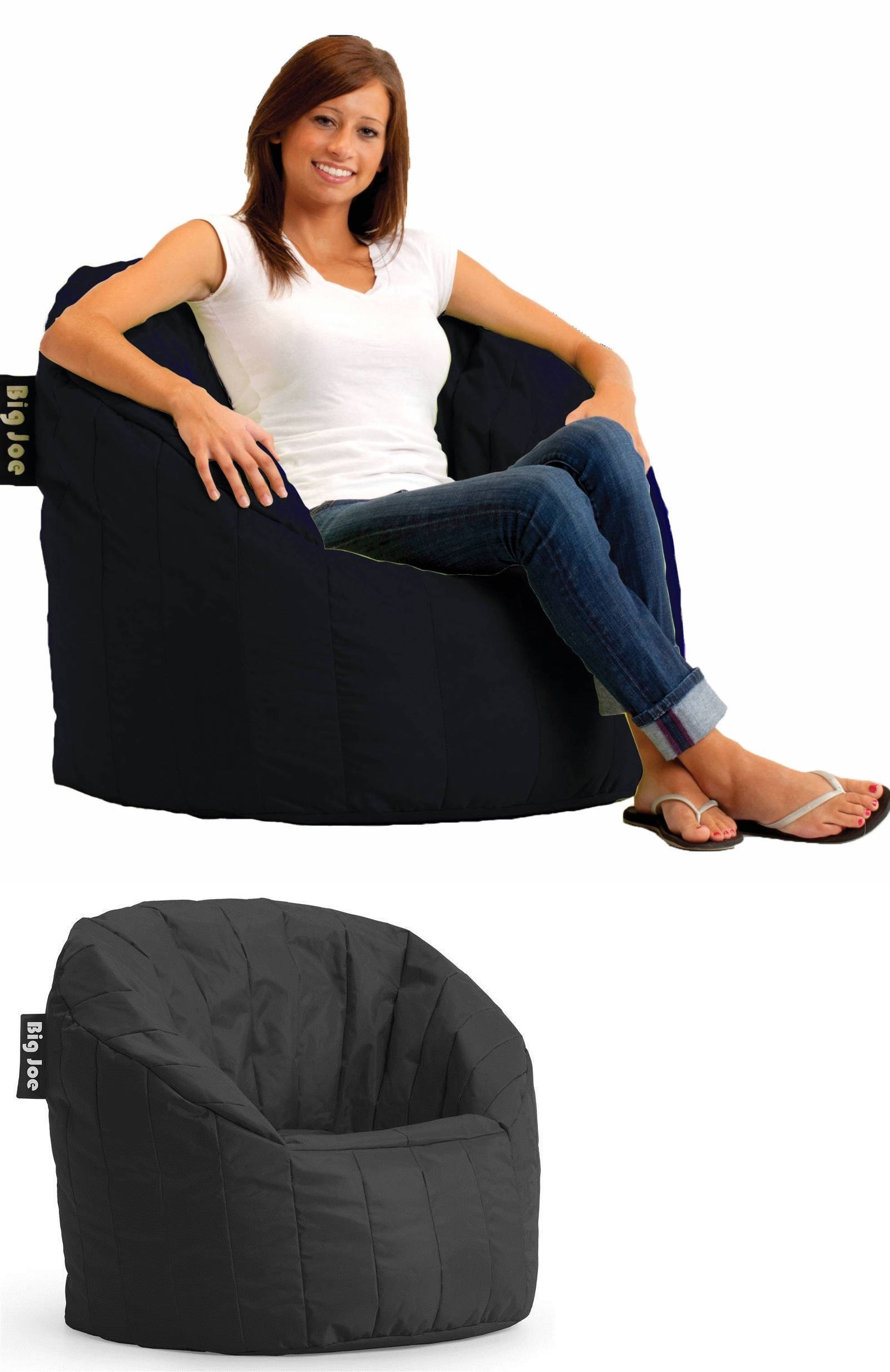 Bean Bags And Inflatables 48319 Black Bag Chair Cozy Lounger Lounge Game Room
