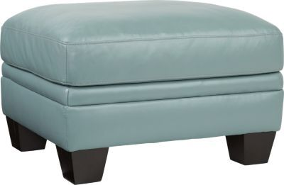 Cindy Crawford Home Marcella Spa Blue Leather Ottoman 28 W X 23 D X 20 H 350 Leather Ottoman Cindy Crawford Home Ottoman