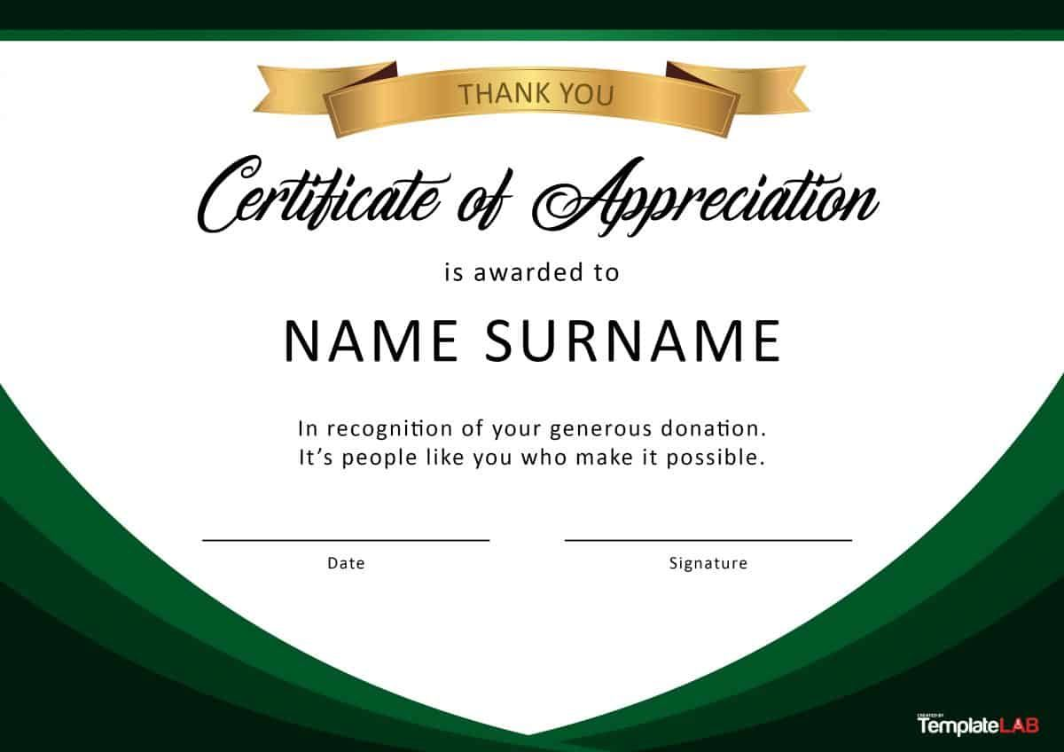30 Free Certificate Of Appreciation Templates And Letters With