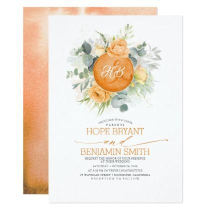 Flowers and Eucalyptus Greenery Wedding Invitation