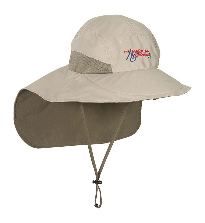Mens Microfiber Fishing Sun Hat Wide Brim Flap Cap - Khaki - CT12O5Q2NV9 -  Hats   Caps 9ef9dd9d34a