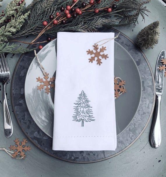 4 Evergreen Tree Embroidered Cloth Dinner Napkins, Christmas Woodland Cotton Napkins #clothnapkins