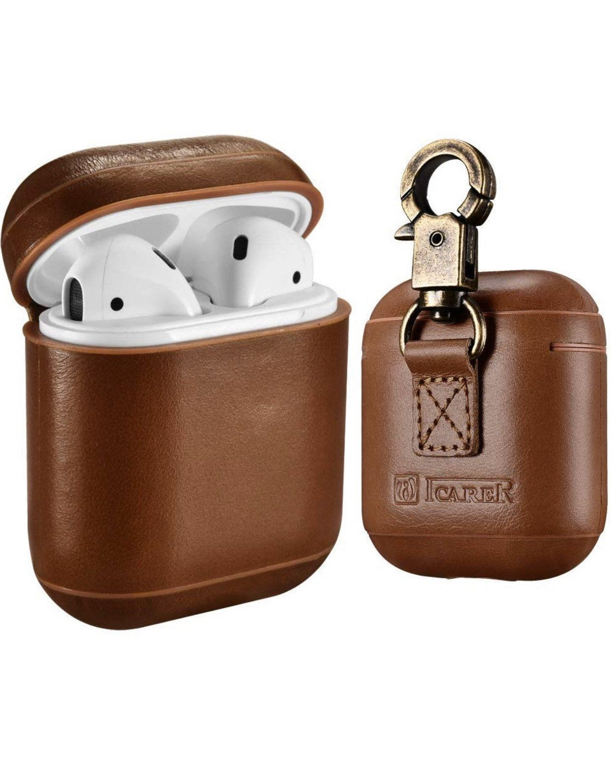 Airpods Leather Case Icarer Genuine Leather Airpod Case With Keychain Apple Airpods 2 Case Airpods 1 Support Wireless Leather Genuine Leather Leather Case
