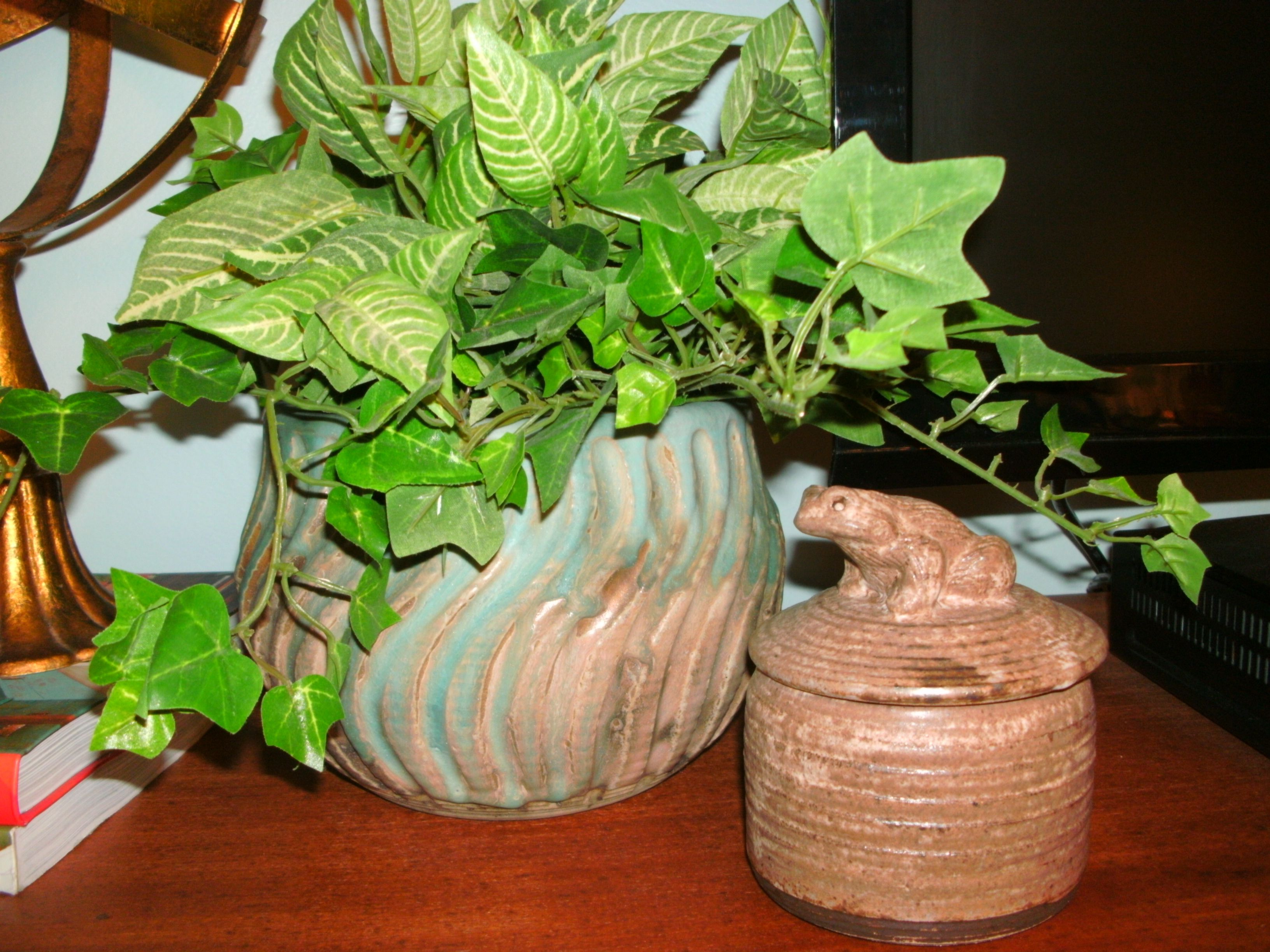 McCarty pottery mum pot and peter's pottery candy dish.