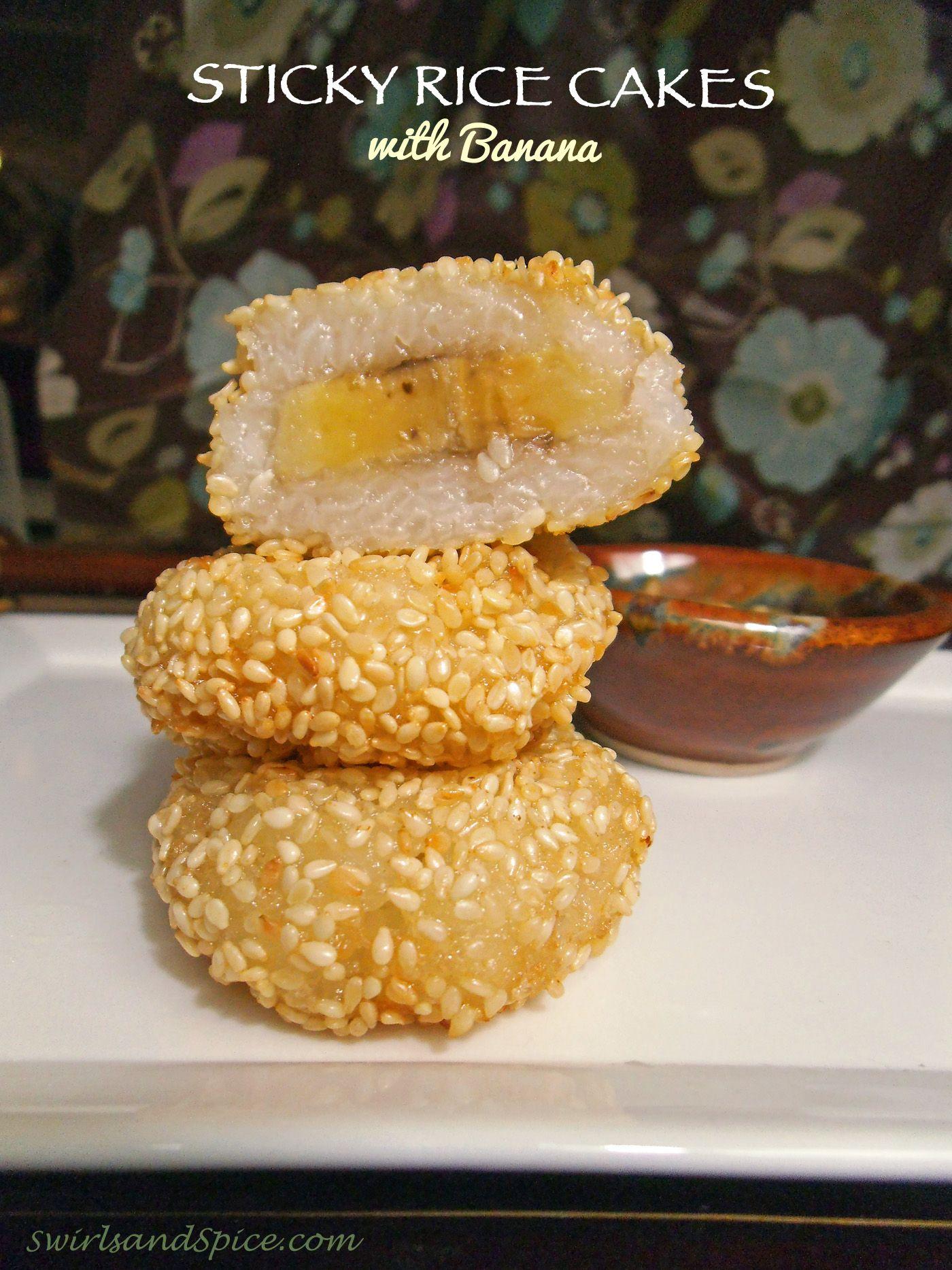 Sticky Rice Cakes with Banana. ☀CQ #glutenfree #sweets #treats