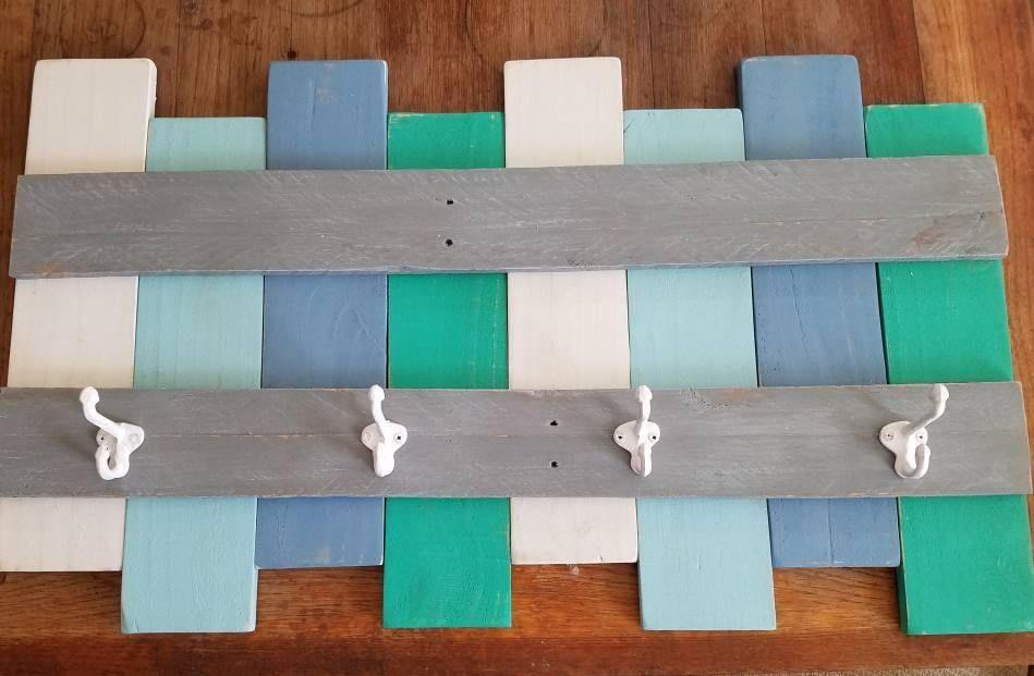 Wooden Coastal Colors Rustic Wall Coat Rack With Iron Double Hooks Tropical Aqua Blue Grey White Green Reclaimed W Coastal Decor Coastal Colors Coastal Kitchen