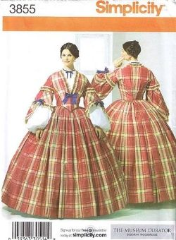 Vintage Fashion Library - 1860s Civil War Costume Two Piece Dress