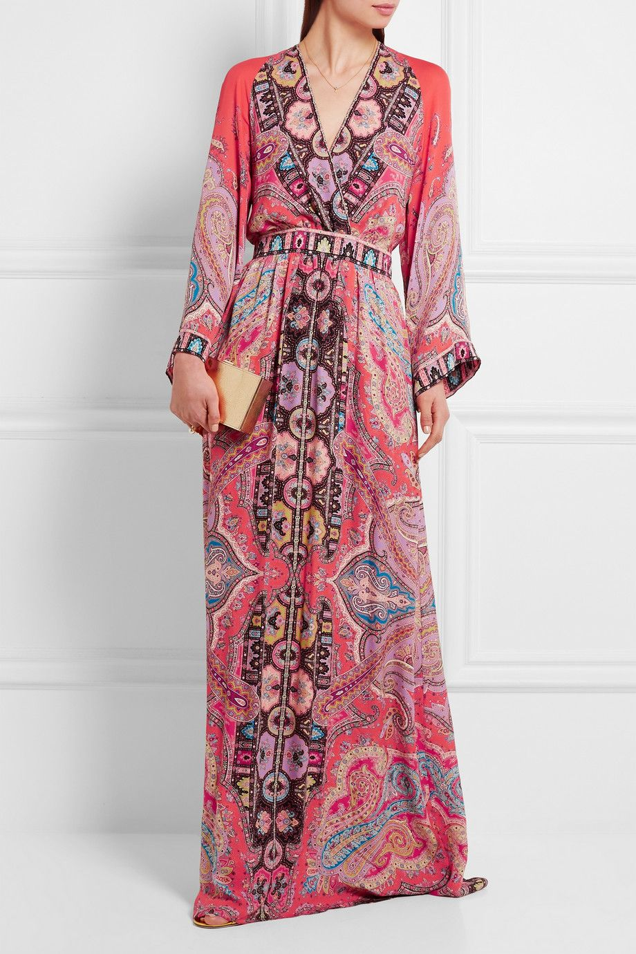 Ruffled Silk-jacquard And Printed Crepe De Chine Maxi Dress - Red Etro SilH4