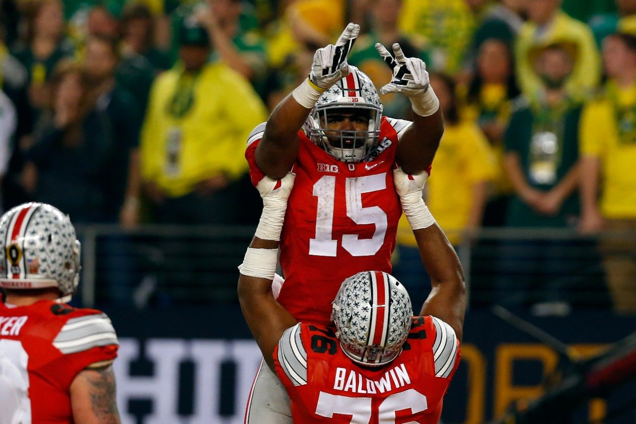 Ohio State running back Ezekiel Elliott celebrates with teammates after one of his four rushing touchdowns against Oregon. Description from washingtonpost.com. I searched for this on bing.com/images