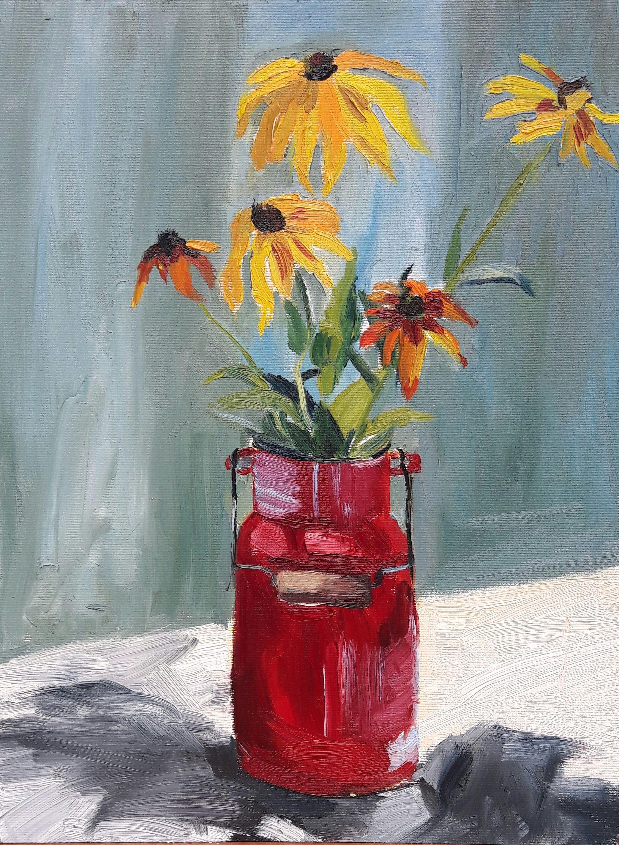 #Yellowflowers Inredcan By Anna Brzeska #Stilllife #Yellowflowers #Oilpainting
