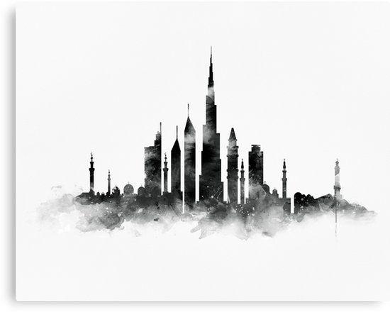 Dubai Skyline Canvas Print By Monnprint Skyline Art Dubai Art Cityscape