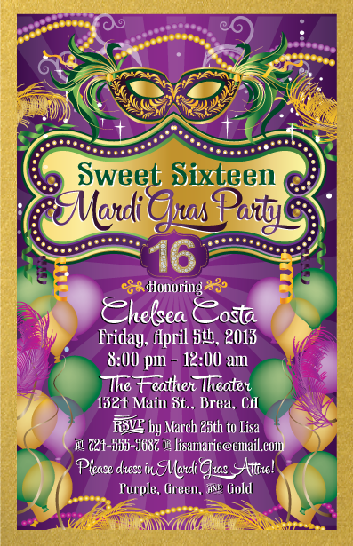 mardi gras invitation crystal Pinterest