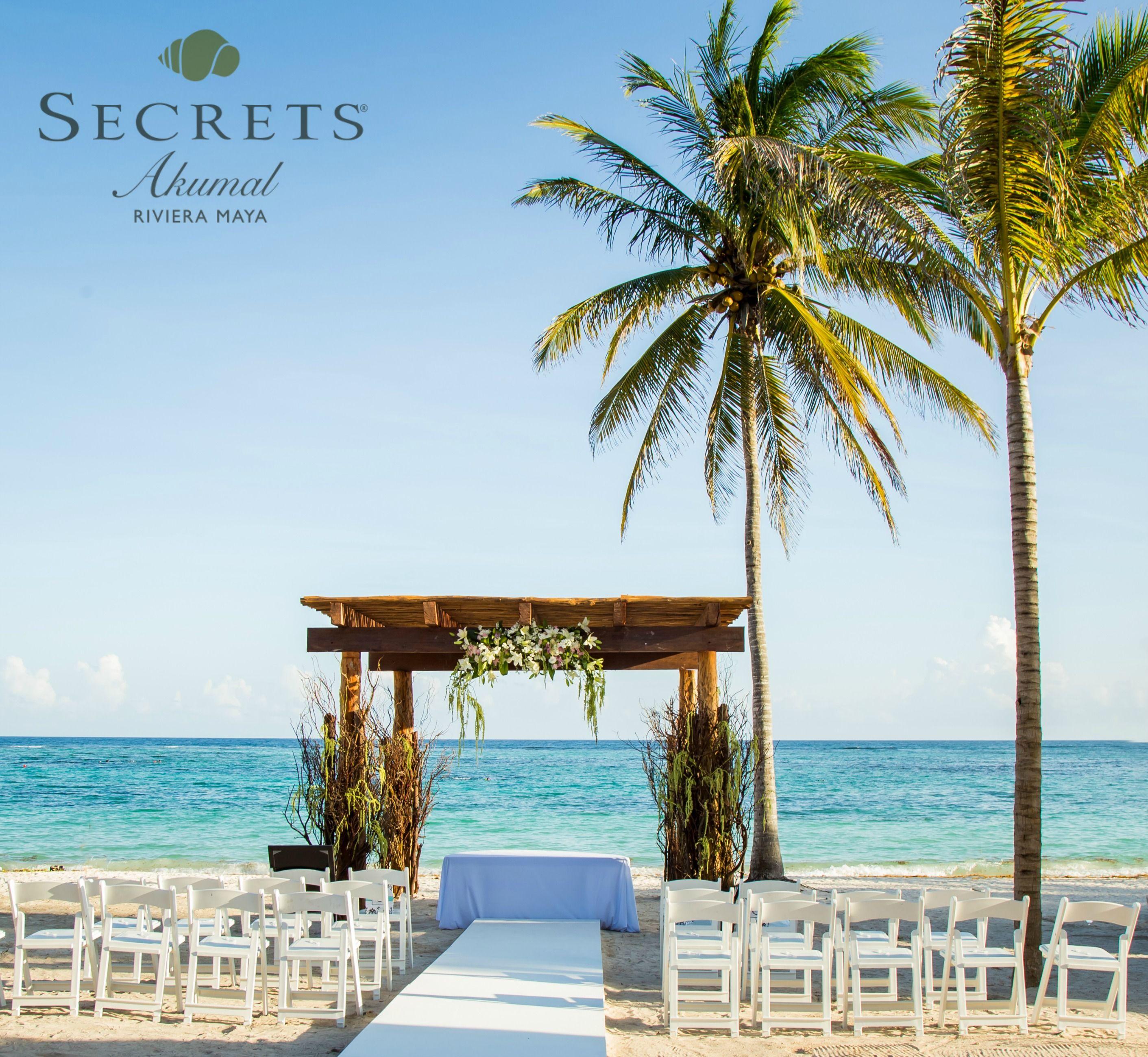 A Beautiful Beach Wedding Set Up At Secrets Akumal Riviera Maya