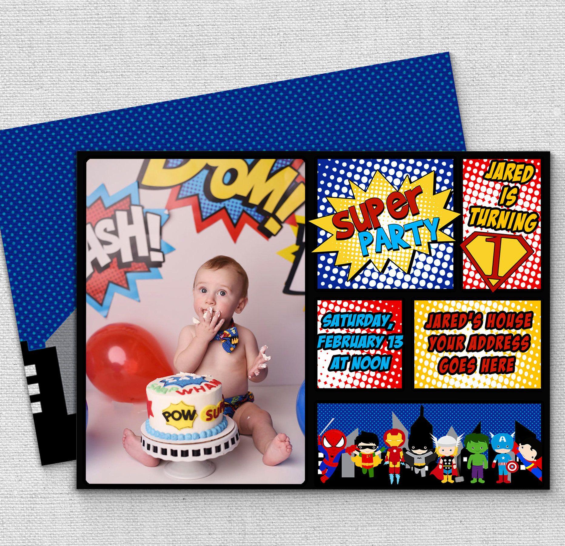 Superhero first birthday party invitations superhero birthday