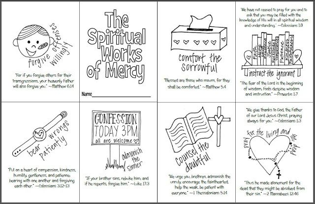 the spiritual works of mercy mini coloring book free printable for catholic kids religious ed. Black Bedroom Furniture Sets. Home Design Ideas