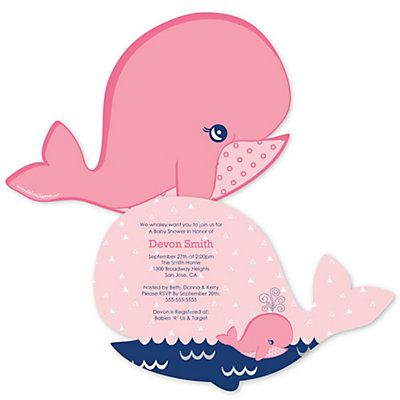 tale of a girl whale baby shower invitations