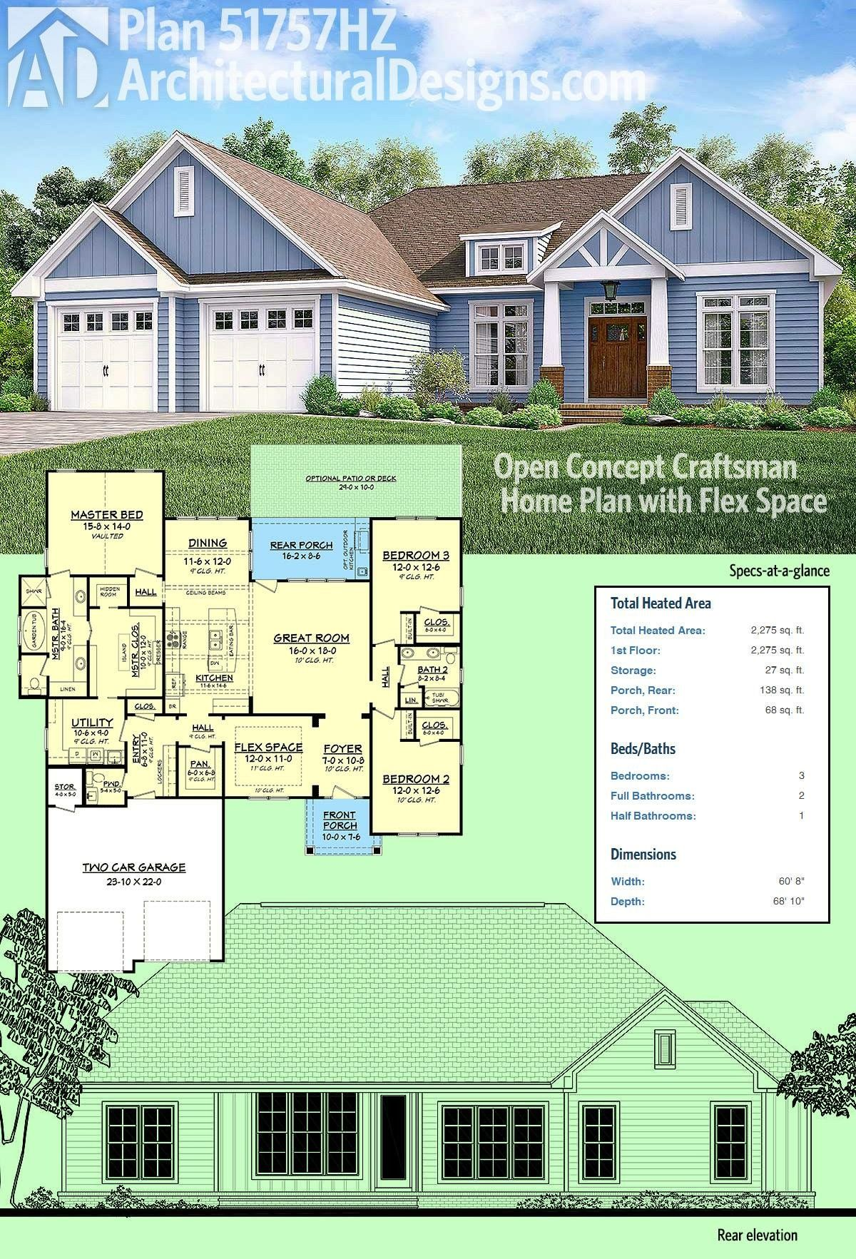 plan 51757hz open concept craftsman home plan with flex space