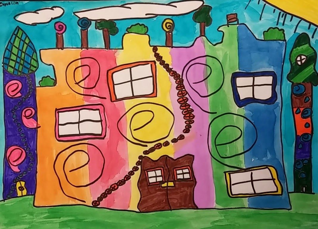 Fifth Grade Students Learned About The Artist Friedensreich Hundertwasser He Was A Highly Creative Painter Architect And Philosophe Thema Architectuur