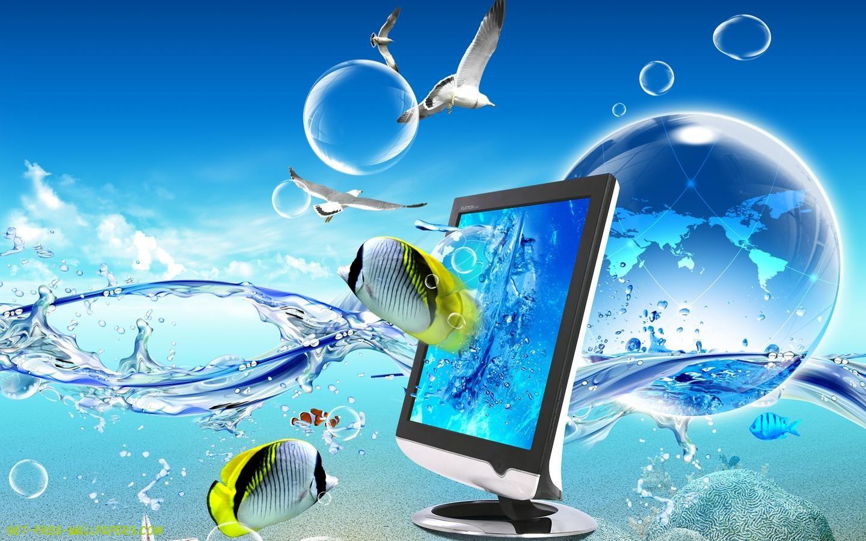 Digital Blue Art Laptop 3D & Digital Art Wallpaper