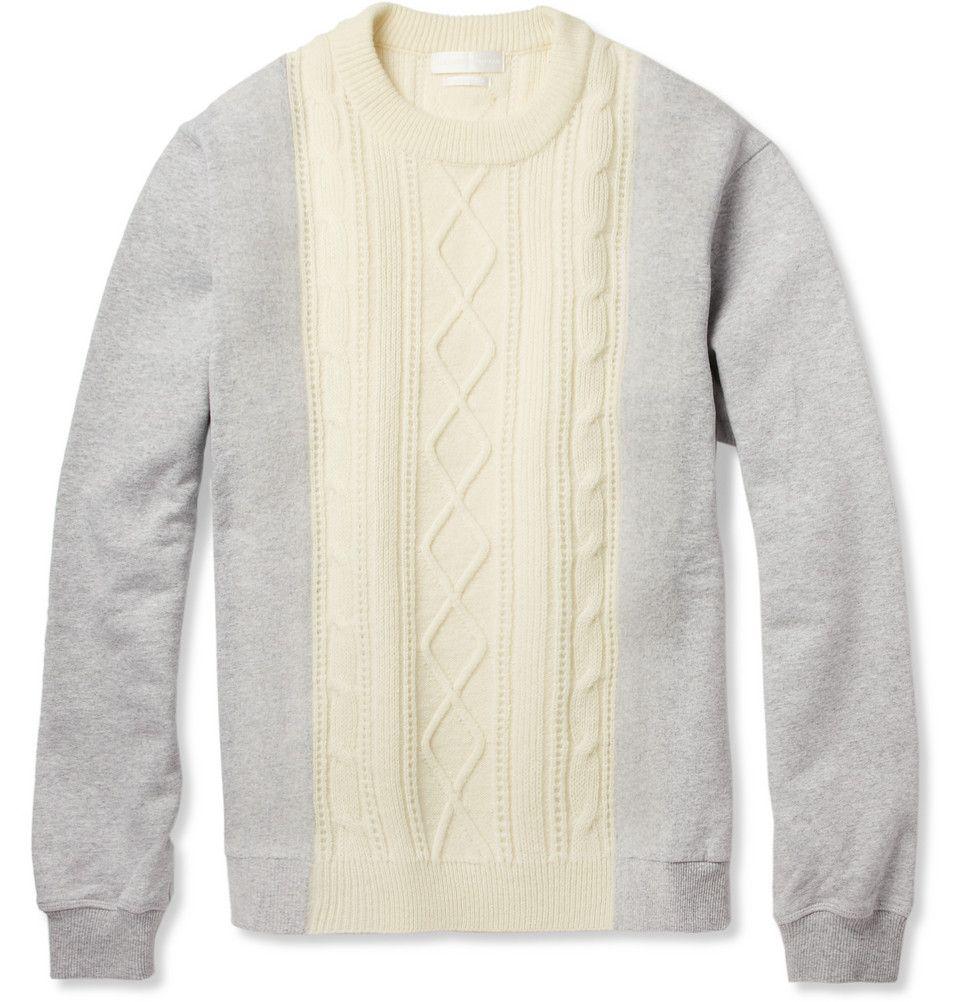 Alexander McQueen Aran-Knit Wool and Cotton-Jersey Sweater | MR ...