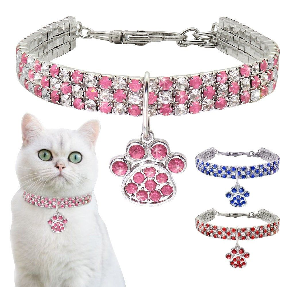 Rhinestone CatDog Collar Puppy Necklace Small Dogs Cats