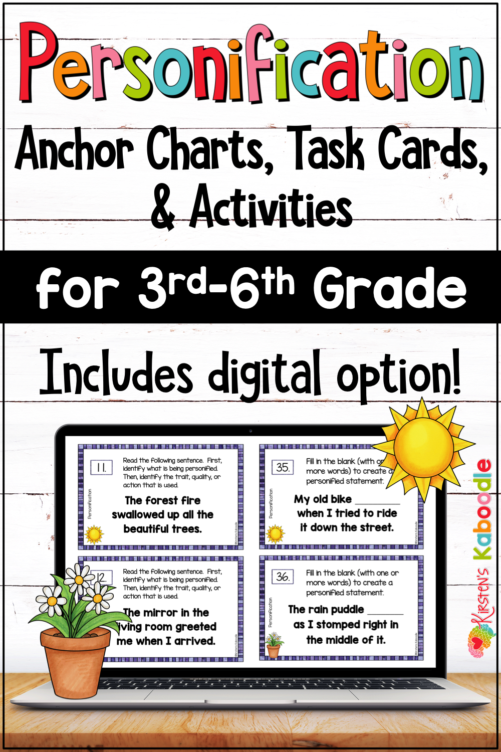 Personification Activities Task Cards Word Lists With Digital Option Personification Activities Personification Elementary Language Arts Lessons [ 1500 x 1000 Pixel ]