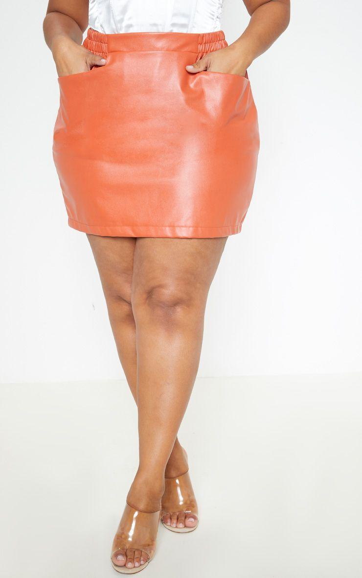 9669991c482 Plus Burnt Orange PU Pocket Detail Mini Skirt in 2019 | Products ...