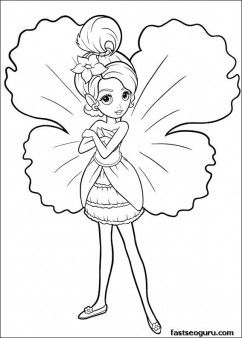 Printable Barbie Thumbelina Chrysella Coloring Pages Printable