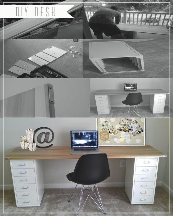 Diy Desk Poplar Wood Metal Corner Brackets From Home Depot Ikea File Cabinets