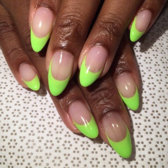 FRENCH NAIL SUMMER 2016 | Neon green nails, French tip ...